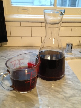 Fill up a decanter with hot coffee, and refridgerate for a few hours