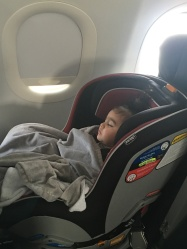 Nora, dozing on the plane